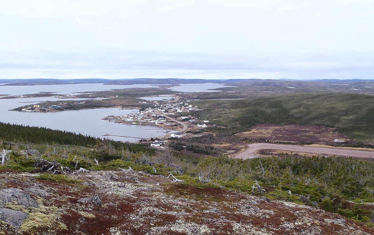 Figure 1 - Community of St. Lewis and airstrip(right) taken from Deepwater Fox